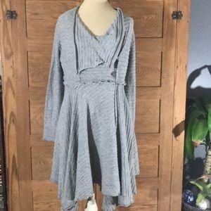 UMGEE gray long cardigan sweater kerchief cut sz S